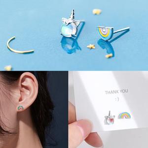 Corée du Nouveau mignon cristal Unicorn Boucles d'oreilles Femmes Mode Bijoux Accessoires en gros cadeau d'anniversaire pour Fille Fille