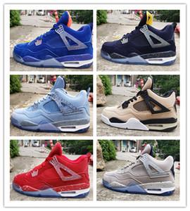 Nouveau 4 IV bleu rouge blanc gris bas chaussures de basket-ball hommes baskets de sport 4 formateurs en plein air pas cher de haute qualité en gros taille 7-13