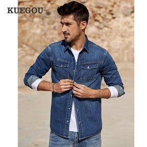 KUEGOU 2020 Primavera Algodão Azul Denim shirt Homens Dress Casual Slim Fit manga comprida para o sexo masculino Marca Roupa Plus Size 6212