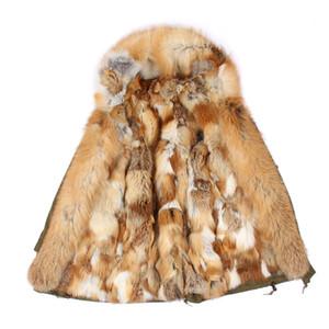 Lavish kürk kadınlar sıcak palto Maomaokong marka kırmızı kahverengi rakun kürk trim Eşik kırmızı kahverengi tilki kürkü astar ordu yeşil uzun parkas