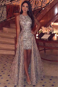 2019 New Crew Neck Pailletten High Low Prom Kleider Sparkling Sleeveless Lace Sweep Zug Formale Party Abendkleider BC1955