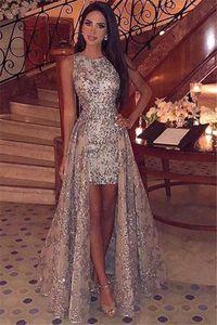 2019 New Girocollo Paillettes High Low Prom Dresses Sparkling Sleeveless Lace Sweep Train Formal Party Abiti da sera BC1955