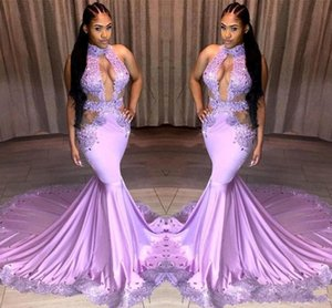 2019 новый сексуальный светло-фиолетовый платья выпускного вечера замочная шея кружева аппликации блестки вырезы стороны развертки поезд дешевые вечерние платья возвращения домой