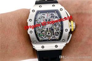KV Top RM11-03 Swiss Watch Chronograph Automatic 28800 VPH Sapphire Crystal Titanium Caso manopola di scheletro cinturino in caucciù nero cristallo di zaffiro