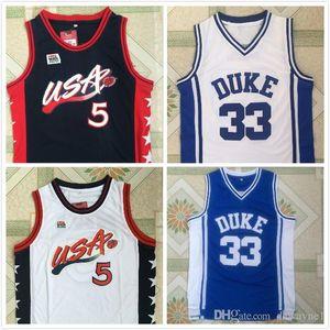1996 мечта команды Джерси герцог синие дьяволы Джерси 5 UCAK Хилл 33 Грант Хилл синий белый баскетбол трикотаж.