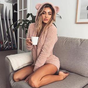 Neue Frauen-Katze-Ohr-Fleece Pyjama Set Winter-warme weiche Bademantel mit Kapuze Hoodie Pyjama Nachtwäsche Niedlich Ohr Nachtwäsche Plus Size Body