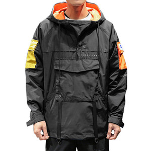 Primavera Men jaqueta corta-vento Moda Hip Hop Zipper Jacket Casual Brasão Mens Outwear anorak Estilo coreano bolso do esporte