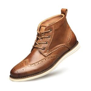 Uomini formali Abito scarpe a punta Oxfords Vera Pelle High-top di avvio del progettista scarpe da sposa scarpe casuali Gentle Partito affari con il contenitore