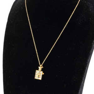 2020 joyería de diamantes de lujo de plata de acero inoxidable 316L El oro subió la botella de perfume colgante collar de cadena larga de las mujeres de la joyería