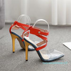 Bombas calcanhar Rxemzg sapatos de verão mulher alta com tira no tornozelo sapatos dedo apontado moda multicolor PVC sandálias T19 sandálias mulheres verão