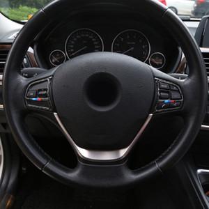 자동차 스타일링 액세서리 탄소 섬유 스티어링 휠 버튼 프레임 커버 트림 BMW 용 스티커 3 4 시리즈 3GT F30 F31 F32 F34