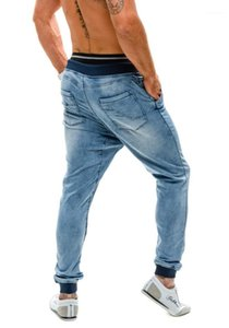 jeans male European and American thread waist loose men's jogging pants designer pants New elastic high waist