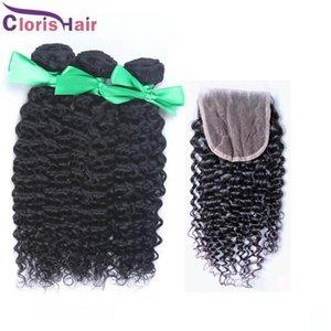 H indio rizado rizado del pelo con el encierro de la Vía Láctea Afro rizado cabello rizado y de cierre de la armadura del pelo humano del encierro del cordón con paquetes envasados