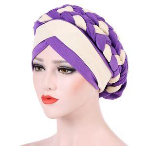 New Women Braid Hats Islamic Prayer turban Hats Womens Muslim Inclusive Cap Muslims Hat Islamic Clothing Double Color