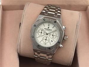 Colores para hombre del reloj de manera de lujo de Royal Oak diamante heló hacia fuera mira el acero inoxidable de Bling cuarzo ap Partido del Movimiento reloj de pulsera