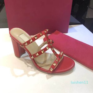 European Classic Style Women's shoes Sandals Fashion Slippers Sexy sandal letter model heel Leather Stitching and Making Belt Buckles l11