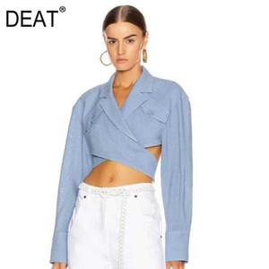 DEAT 2019 nouveaux automne et les femmes de la mode hiver vêtements tendance Croisement évider Chemisier culture sexy denim bleu WJ87105L