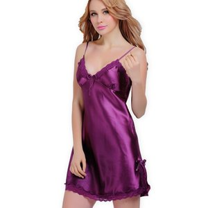 Bayanlar Seksi İpek Saten Gece Elbise Kolsuz nighties V yaka Gecelik Artı boyutu Gecelik Dantel pijamalar Gecelik İçin Kadınlar