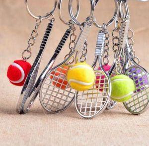 DHL Mini Tennis Keychain Sports Style Key Chains Zinc Alloy Keychains Car Keyring Kids Toy Novel Birthday Gift NN