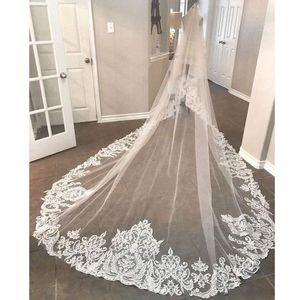 Elegante 2019 New Wedding Veils 3 Metros Longo Comprimento Da Catedral Lace Appliqued Imagem Real Tulle De Noiva Véu Com Pente