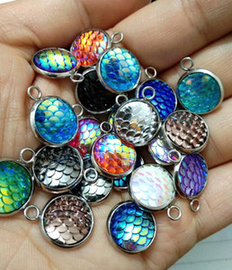 bijoux de mode en acier inoxydable 12MM sirène échelle Charms pendentif pour collier Boucles d'oreilles poisson beauté charme échelle de bijoux Fournitures Faire