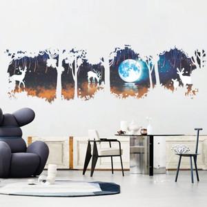 ضخمة شجرة غابة الغزلان الأيائل القمر بحيرة ملصقات الحائط الحديثة ديكورات غرفة المعيشة ديكور المنزل صائق ملصق SH190710