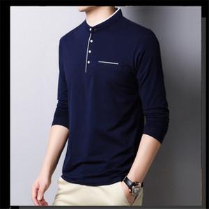 Mens конструктора футболка Pure Color Одежда Повседневной длинный рукав Стенд воротник футболка Мужчина Одежда