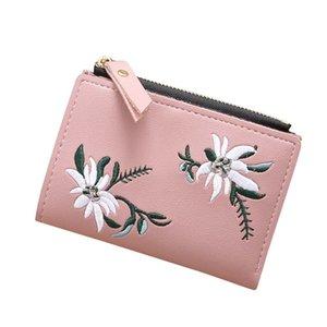 Tasarımcı-Kadınlar Cüzdan Deri Fermuar Çiçek İşlemeli Moda Cüzdanlar Mini Çanta Bayan PU Deri Madeni Para Çanta Kart Sahibi Cüzdan #C
