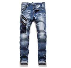 Tops Mens perna reta com fecho Slim Fit Jeans Moda Washed calças Motocycle Denim com painéis de Hip Hop do motociclista Calças 1042