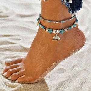 Strand Fußkette Kette Conch Baum des Lebens Yoga Shell Elefant Fußkette Kette Fuß Mehrschichtige Fußkettchen Armbänder Art und Weise neue Modeschmuck