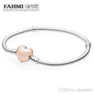 WPENNYI 100% 925 braccialetti sterlina-argento-gioielli per donne perle fai da te monili che fanno oro rosa del cuore di colore del braccialetto del catenaccio 580.719