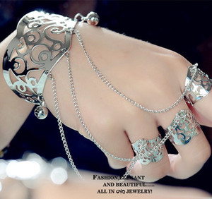fashion 2018 women bracelet with ring attached hollowed metal unique design ladies hand chain bracelet ring free shipping