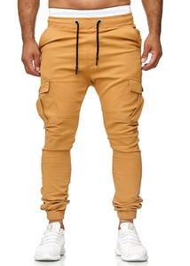 Homens Pockets Magro cordão plissadas alta cintura Long Stylish Calças Treino Academia Workout Carga frescos Pants