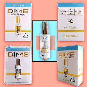Dime Vape Cartouches Emballage 0.8ml 1ml Chariots en céramique cartouches vides Vape Emballage en verre épais réservoir d'huile 510 fil Ecig Vaporizer