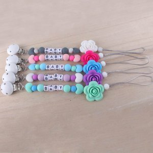 Ins flower Silicagel baby Pacifier chain clips sweet Baby Clip Chain Beaded Pacifier Soother Holder Clip Newborn Nipple Teether B1197