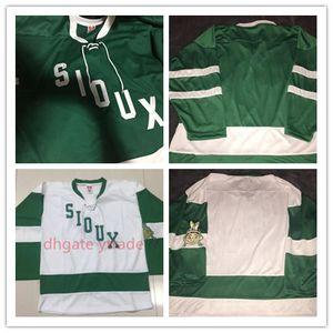 Mens Jahrgang 1959 North Dakota Kampf Sioux Hockey Jersey Grün Weiß Vintage Sioux Jerseys Blank Gewohnheit irgendein Name Stickerei genähtes