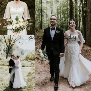 Vintage Märchen Land Brautkleider mit Ärmel 2019 Sheer Neck Lace Applique Außen Böhmischen Country Garden Hochzeitskleid