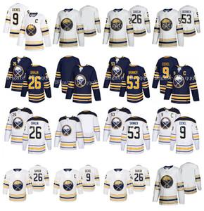 NHL Buffalo Sabres Jersey 9 Jack Eichel 26 Rasmus Dahlin 53 Jeff Skinner en blanco Hombres Mujeres Niños con la temporada número 50 jerseys de hockey Patch