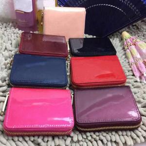 cuir Designer-brevet shinny courte portefeuille mode haute qualité femmes porte-monnaie boîte originale concepteur portefeuille poche zippée classique