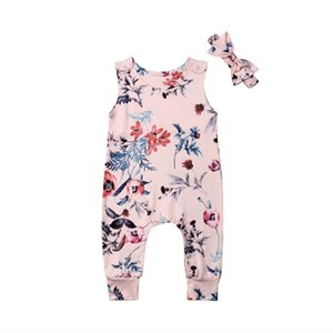 Emmababy 2PCS 2020 New Brand Baby Girls Clothes Flower Jump Suit