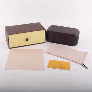 Gafas de sol marrones de marca clásica de alta calidad Caja de gafas Caja de gafas de cajón y caja Gafas Gafas protectoras Accesorios