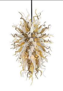 Art design Handmade Blown Cadeia Pingente de vidro Lâmpadas Sala decorativa Modern LED de cristal de suspensão vidro Chandelier