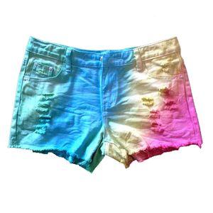Progettista delle donne Jeans Shorts con tasche metà di vita tinto legame regolare Shorts Loose Women contrasto di colore Pantaloncini