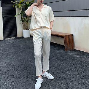 INCERUN 2020 Men Sets Short Sleeve Solid Breathable Lapel Shirt Casual Button Pants Loose Mens Suits Streetwear Two Pieces Sets
