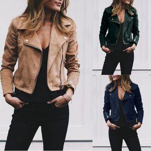 Frauen Retro Jacke Revers Anzug Kragen Slant Reißverschluss Mantel Outwear Herbst Frühling Basic Short Biker Jacken Plus Größe LJJA2829