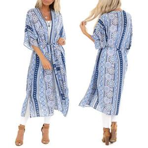 Мода бикини крышка вверх женщин Печать Кардиган Пляжная одежда с коротким рукавом Seaside Бич Smock Блуза Tops Ропа Mujer Verano