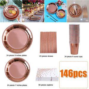 Celebração do casamento 146PCS Papel Dinnerware Set Bbirthday Partido Disposable Tableware Set copos de chapas de palhas Guardanapos Hot Stamping