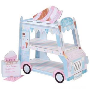 Ice Cream Van Стенд Автомобили Дисплей Стенд Кексы Party Event Одноразовая День рождения украшения выпекание кухня, столовая, бар Cupcake Sugar Сви