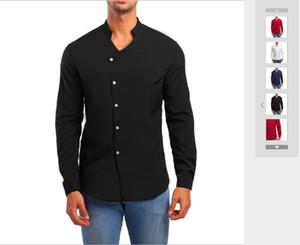 Printemps et automne 2019 Nouveaux chemises à manches longues à col montant asymétriques pour hommes du commerce extérieur Marées