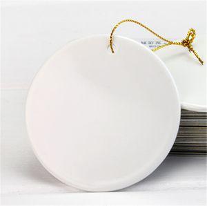 Blanc Sublimation Blank Ornements en céramique Décoration de Noël Pendentif de haute qualité blanc Ornement en céramique de transfert thermique Décor A02